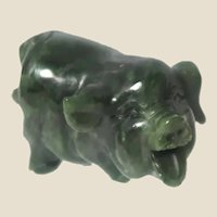 JADE Hand-Carved Miniature Pig - Carved Miniature Pig.  Pigs Represent Luck and Good Fortune; Jade Symbolizes Nobility, Perfection, Constancy, and Immortality.