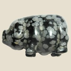 Hand-Carved Miniature Pig Of Snowflake Obsidian