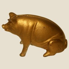 Polychromed Gold-Colored Cast Iron Piggy Bank, Vintage or Older