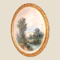 William Henry Chandler (American, 1854-1928) - Lovely Oval Original Signed Pastel Painting In Gold Gilt Frame