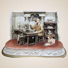 "ANTONIO BORSATO (Italian 1905-1981) -   ""Self-Portrait"" - Museum Quality  Multi-Figural Incredibly Detailed Porcelain Sculpture"