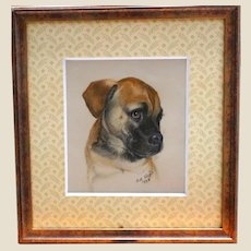 Precious Puppy Dog Portrait - Original One Of A Kind,  Signed and Dated  by Artist Dot Lloyd