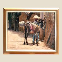 """RAY SWANSON  (American, 1937-2004) - """"Boy With Burro"""" - Original Signed Oil On Canvas -"""