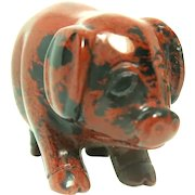 """Miniature Hand-Carved Piglet of Rhodonite, The """"Rescue Stone"""""""