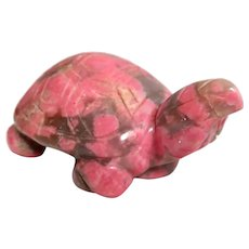 Well-Carved Miniature Turtle in Rhodonite,  Exceptionally Nice Colors