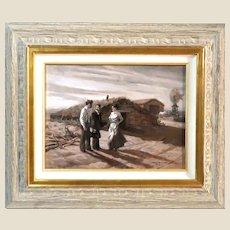 "Robert Summers (American, b. 1940)- Original Signed Oil ""Doctor's Visit"""
