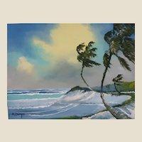 "FLORIDA HIGHWAYMAN Rodney Demps -(American 1953 - 2020) - Original Signed Oil ""Rio Mar"" -"