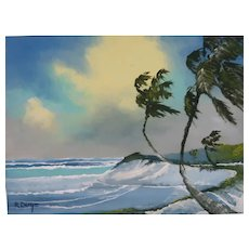 "FLORIDA HIGHWAYMAN Rodney Demps -(American 1953 - 2020) - Original Signed Oil ""Rio Mar"" -"