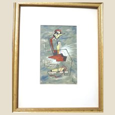 NICOLAI KUVSHINOFF  (Russian/American  1899-1997) - Signed Original Oil In His Neo-Cubist Style