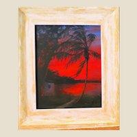 "Original Florida Highwaymen R. A. McLENDON (American,, b. 1932) - Original Signed Oil ""Red Night"""