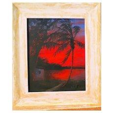 "Original Florida Highwaymen R. A. McLENDON (American,, b. 1932) ""Red Night"""