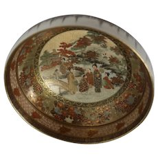 Japanese Satsuma Miniature Bowl With Lovely Women Near A Bridge,. Buildings, and Landscape, With Alternating Borders With Flowers And Designs; Very Detailed