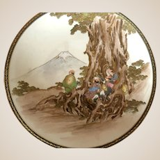 MEIJI PERIOD Japanese Satsuma Plate of People With Mt. Fuji In The Background.