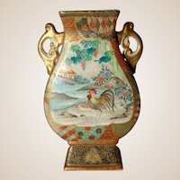Japanese Satsuma Handled Vase With Two Lovely Scenes With Wonderful Borders And Details