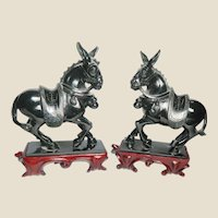 PAIR of Well-Carved Vintage Chinese Hardstone Mules With Wood Stands