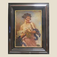 "LEOPOLD SCHMUTZLER  (Austrian 1864-1941)  - Large Signed Original Oil ""Girl With Daisies"" - (Featured In Architectural Digest ""Designers' Own Homes"" September, 2002 - Copy included"