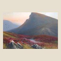 "Daniel Sherrin, The Elder (1868-1940) - Original Signed Gouache Painting ""Scottish Highlands""  -"