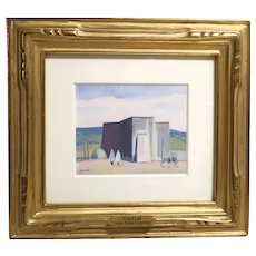 """Louis Bassi Siegriest (American, 1899-1989) -  """"Taos Church"""" - Original Signed Gouache and watercolor"""