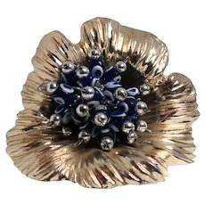 """A  Cornucopia For The Holidays!  Lovely Silver-Plated With Enamel """"Berries"""" - Makes Your Table Festive."""