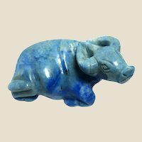 "RARE Well-Carved African Cape Buffalo in Sodalite (Believed to ""Keep You Shielded From Negative Forces in Our Imperfect World. "" )"