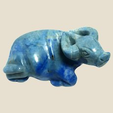 """RARE Well-Carved African Cape Buffalo in Sodalite (Believed to """"Keep You Shielded From Negative Forces in Our Imperfect World. """" )"""