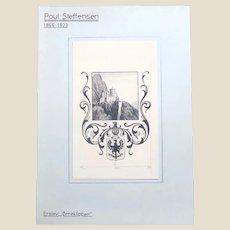 Original Antique Drawing By Well-Listed Danish Artist Poul Steffensen (Danish 1866-1923)