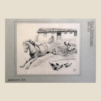 """Grankogler"" (""Spruce Cones"")- Poul Steffensen (Danish 1866-1923) - Original Signed/Dated Antique Pen, Watercolor and Ink Drawing. c. 1918"