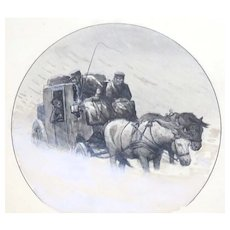 """Christmas Trip""  Poul Steffensen (Danish 1866-1923) - Original Signed/Dated  Antique Pen, Watercolor and Ink Drawing. c. 1909"