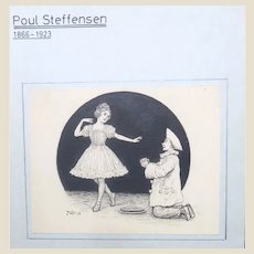 Poul Steffensen (Danish 1866-1923) - Original Pen, Watercolor and Ink Drawing Comedy Book Cover, Signed and Dated 1915