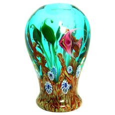 STEVEN LUNDBERG (American 1953 - 2008)  Outstanding Impressionist  Glass Art Vase - Underwater Scene With two Pink Angelfish -Personally Signed/Dated by Steven Personally