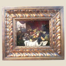 EARLY 19th Century Signed Oil Painting, Trompe L'oell Still Life With Fruits.