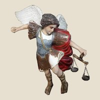 St. Michael The Archangel - Continental Multi-Figural Polychrome Carving - Definitely Attention-Getting!