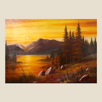 Very Large And Beautiful Sunset Landscape By Popular Scottsdale, Arizona Artist, John Sullivan.