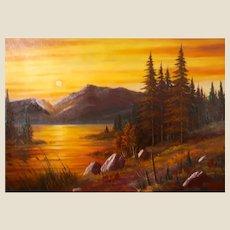 Very Large And Beautiful Sunset Landscape By Popular Scottsdale, Arizona Artist, John Sullivan.