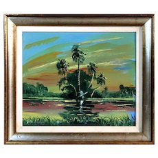 FLORIDA HIGHWAYMAN - S. M. (Sylvester) Wells (American b. 1938) -From the Private collection of Sylvester Wells - Original Signed Oil -Outstanding!