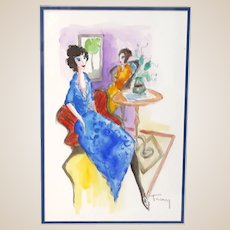 "ITZCHAK TARKAY (Israeli, 1935 – 2012) -ONE-OF-A-KIND Original Signed Watercolor With COA From Artist's Widow  ""Leisure"""