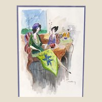 "ITZCHAK TARKAY (Israeli, 1935 – 2012) -ONE-OF-A-KIND Original Signed Watercolor With COA From Artist's Widow  ""Woman In Green Wearing Purple Hat""ing"