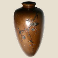 Japanese Taisho Period Signed Mixed Metal Vase