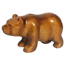 Tiger's Eye Hand-Carved Miniature Bear -Unusual Tiger's Eye Patterns