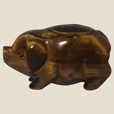 Tiger's Eye Hand-Carved Miniature Pig - Tiger's Eye is Believed to Encourage You To Live Boldly and Bravely; The Pig Represents Compassion, Generosity and Diligence