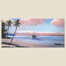 "TRACY NEWTON (American 20th Century ) - ""The Beach House""  Original Signed Oil (Son of Sam Newton, An Original Highwayman) -"