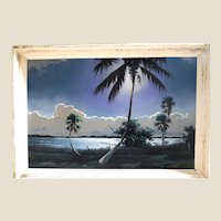 """Florida Highwaymen """"Second Generation Movement"""" - Tracy Newton (American, b. 1975), - Son of Legendary Original Highwaymen Sam Newton  -Large  Original Signed Oil Painting """"Blue River"""""""