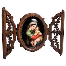 Madonna and Holy Child - Painting on Porcelain With Hand-Carved Wood Frame  c 1870