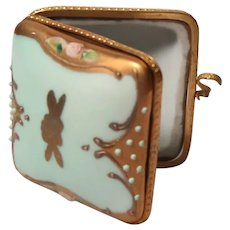Exquisite and Unusual French Pill Box or Trinket Box - Embellished With Flowers And Design