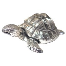 From Italy - Signed Larger Turtle or Tortoise,  Silver Toned, Very Well Detailed