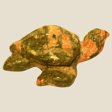 """Hand-Carved Miniature Turtle of Unakite, Said To Be """"The Ultimate Stone For Living Out The Spirit Of Carpe Diem"""""""