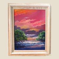 """ORIGINAL HALL OF FAME HIGHWAYMEN Robert Butler (American 1943 - 2014) - Exquisite Oil On Canvas """"Tropical Sky"""""""
