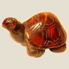 """Well-Carved Miniature Deep Red Turtle in Rhodonite,  (The """"Rescue Stone"""")"""