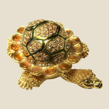 """Adorable Trinket Box - """"Jeweled"""" Turtle - (or Pill Box or Ring Box)"""