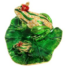 """Two Royal Frogs - """"Jeweled"""" Trinket Box or Ring Box, Enamel and Faux Diamonds; Faux Ruby Crowns."""